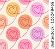 Vector seamless pattern with linear hearts of stitching and circles. Color polka dot background Valentine's Day, wedding. Romantic ornamental abstract illustration in tints of pink for web and print - stock vector
