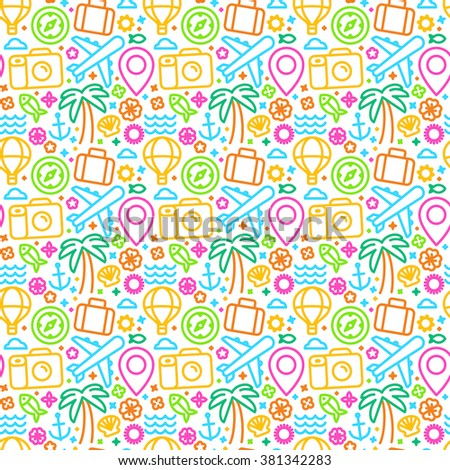 Vector seamless pattern with linear icons and signs related to travel and sea - abstract texture and background for travel agencies websites and banners - summer bright pattern