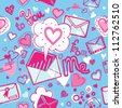 Vector seamless pattern with love letters and hearts - stock vector
