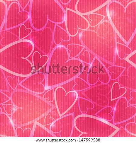 Vector seamless pattern with many hearts on the pink background