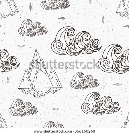 Vector seamless pattern with mountain and sea. - stock vector