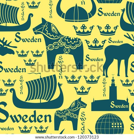 Vector Seamless Pattern National Symbols Sweden Stock Photo Photo
