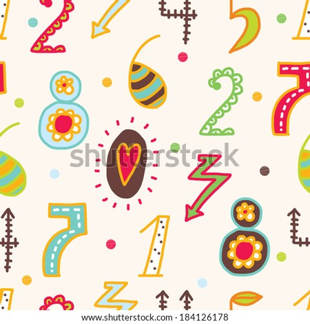 Vector seamless pattern with numbers.
