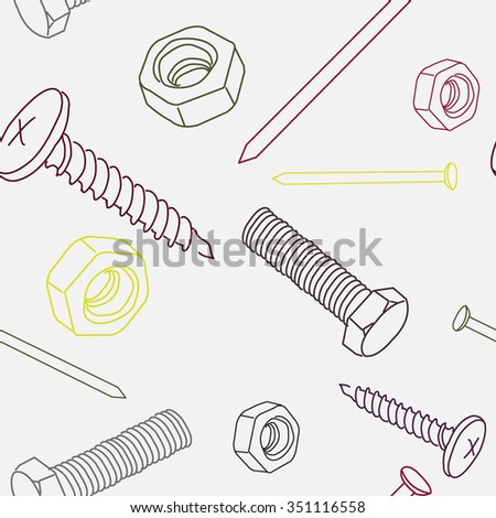Vector seamless pattern with nut. screw, nail. Vector illustration.  - stock vector
