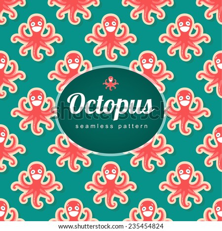 Vector seamless pattern with octopus - stock vector