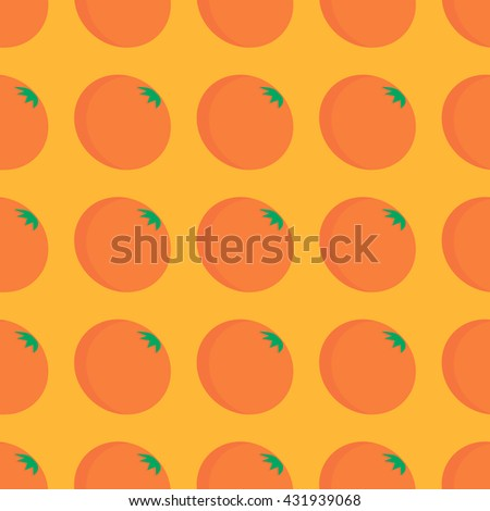 Vector seamless pattern with orange fruit. Summer background for material design - stock vector