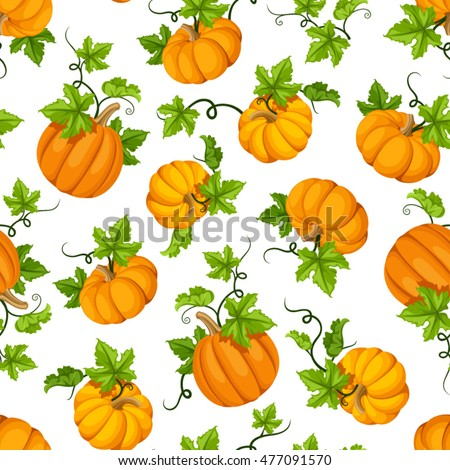 Vector seamless pattern with orange pumpkins and green leaves on a white background.