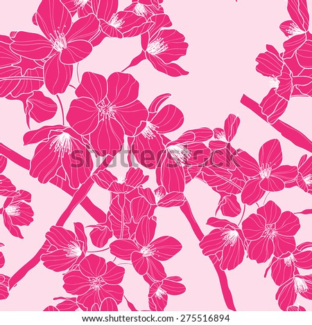 Vector seamless pattern with oriental cherry - stock vector