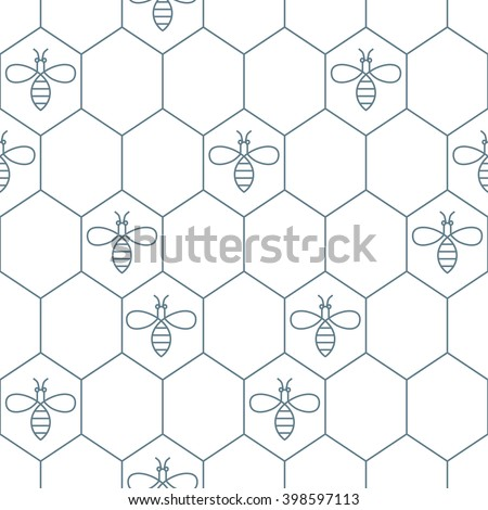 Vector seamless pattern with outline bees and honeycombs. Simple black and white honey background. Concept for honey package, wrapping.