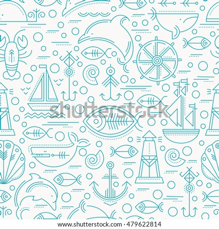 Vector seamless pattern with outlined seafaring and nautical signs. Blue and white color palette. Minimalistic design layout for business