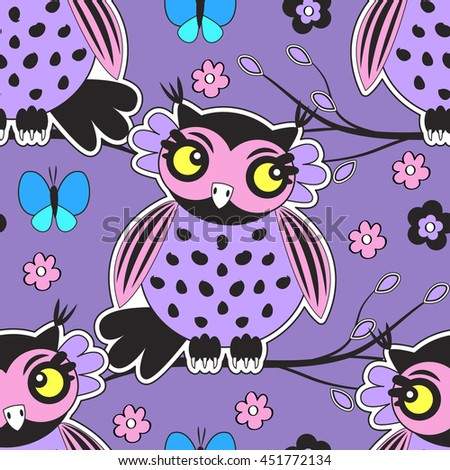 Vector seamless pattern with owl, flower and butterfly. Violet. - stock vector