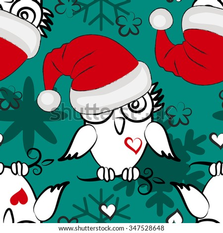 Vector seamless pattern with owl in a red hat. Owlet Santa with heart and snowflake. Red, green, white.