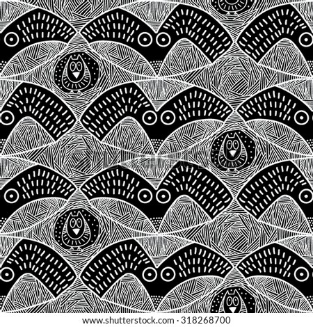 Vector Seamless Pattern with owls and crowns. Black and white stripped Background. Hand drawn. Design for cloth. - stock vector