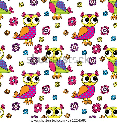 Vector seamless pattern with owls and flowers 5 - stock vector