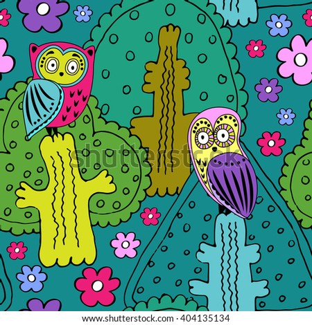 Vector seamless pattern with owls and trees and flowers. Green, pink, yellow and violet. - stock vector