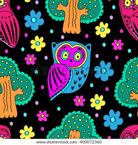 Vector seamless pattern with owls and trees. Black - stock vector