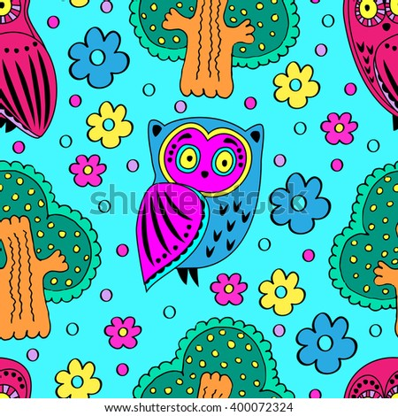 Vector seamless pattern with owls and trees. Blue. - stock vector