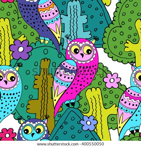 Vector seamless pattern with owls and trees. Pink, violet, green, blue, white. - stock vector