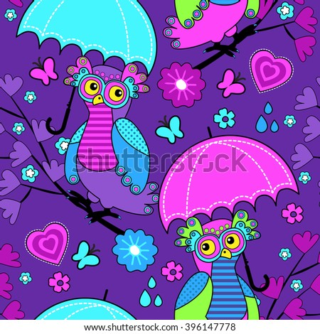 Vector seamless pattern with owls and umbrella. Owls on a tree. Violet. - stock vector