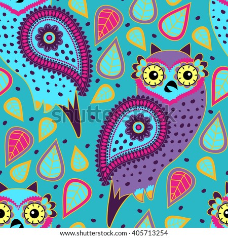 Vector seamless pattern with owls. Green. - stock vector