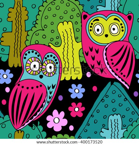 Vector seamless pattern with owls in the forest. Black, green, pink, violet, yellow. - stock vector