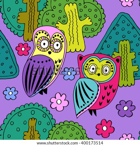 Vector seamless pattern with owls in the forest. Green, pink, violet, yellow, red. - stock vector