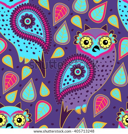 Vector seamless pattern with owls. Violet. - stock vector