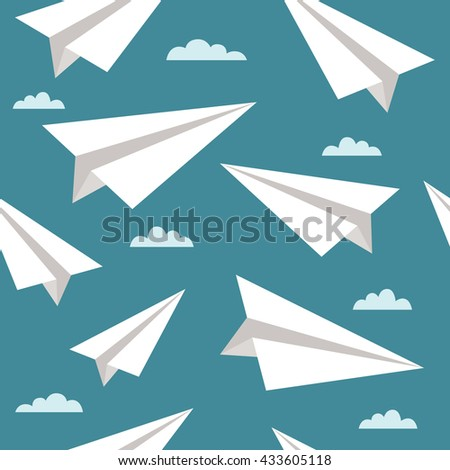 Vector seamless pattern with paper airplanes and clouds. Bright vector background - stock vector