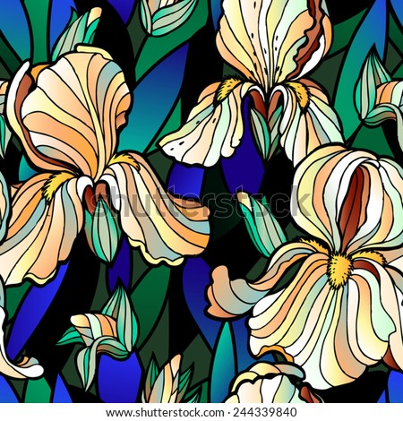 Vector seamless pattern with pastel irises on a dark blue-green background - stock vector