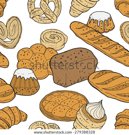 Vector seamless pattern with pastry and bread. Hand drawn vector illustration.