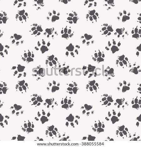 Vector seamless pattern with paw footprints of a dog (wolf). Cute hand drawn steps drawn with watercolors. Monochrome texture for consumer industry design - stock vector