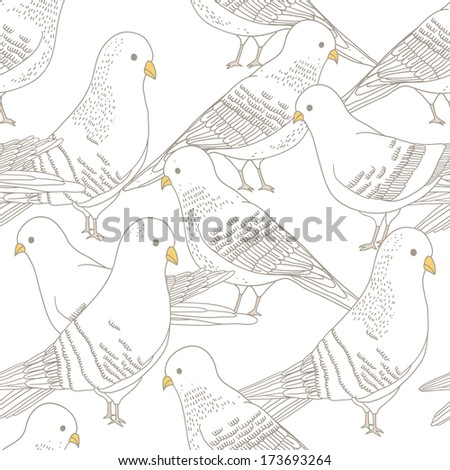 Vector seamless pattern with pigeon birds - stock vector