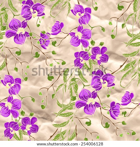 Vector seamless pattern with pink and violet orchid flowers on silk - stock vector