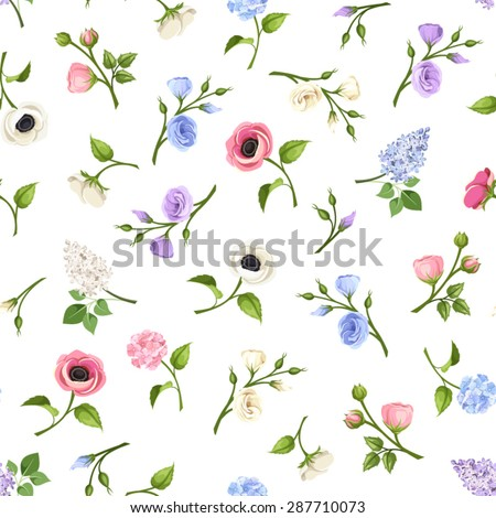 Vector seamless pattern with pink, blue, purple and white lisianthuses, anemones, lilac and hydrangea flowers on a white background.