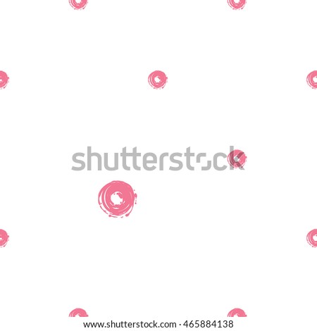 Vector seamless pattern with pink donut. Beautiful background for party, greeting paper card or banner. Hand drawn fashion sketch style. Objects on white backdrop.