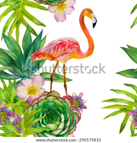 Vector seamless pattern with pink flamingo and exotic tropical plants. Watercolor hand-drawn illustration. Palm tree, succulent, roses, passionflower - stock vector
