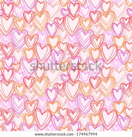 Vector seamless pattern with pink hearts of doodles. Valentines Day's, wedding texture in childish hand drawn style. Ornamental illustration for print, web - stock vector