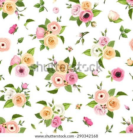 Vector seamless pattern with pink, orange and white roses, lisianthuses, anemones, ranunculus flowers and green leaves on a white background. - stock vector