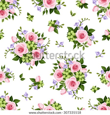 Vector seamless pattern with pink roses and purple freesia flowers and green leaves on a white background. - stock vector