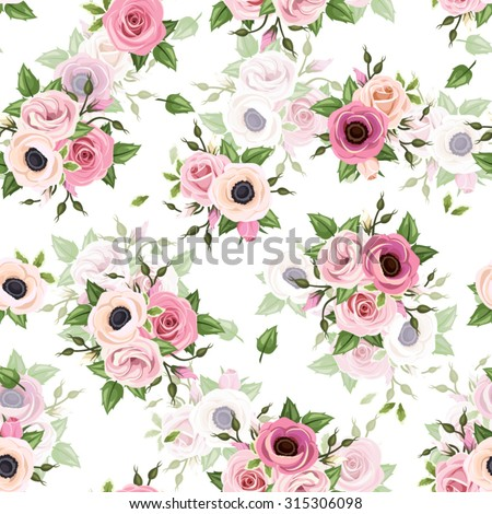 Vector seamless pattern with pink roses, lisianthus and anemone flowers and green leaves on a white background. - stock vector