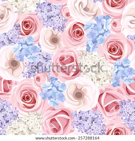 Vector seamless pattern with pink roses, purple and white lilac flowers and blue hydrangea flowers. - stock vector