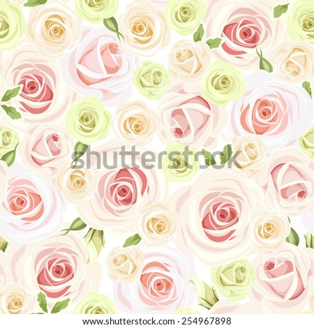 Vector seamless pattern with pink, white and green roses. - stock vector