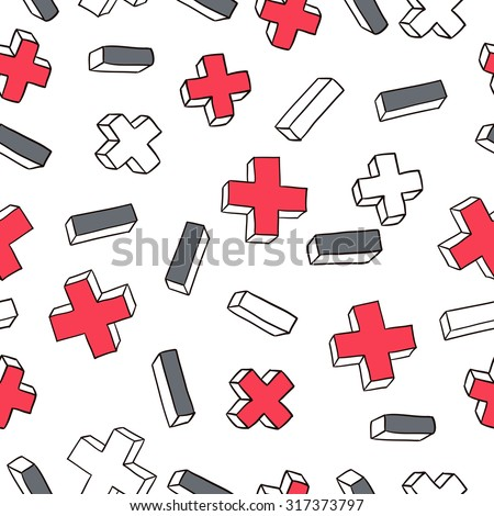 Vector seamless pattern with plus and minus