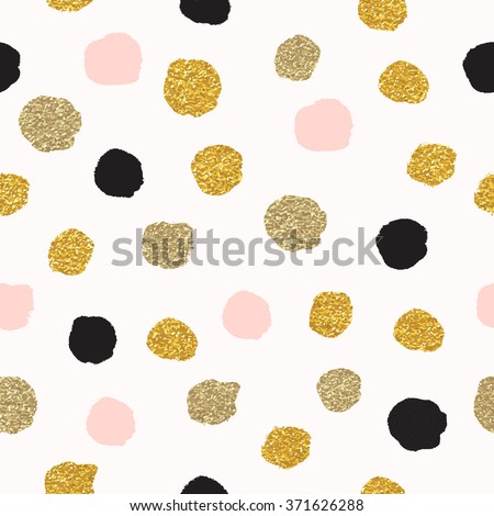 Vector seamless pattern with polka dots of rose gold and black. Gold dots, sparkles, shining dots.  - stock vector