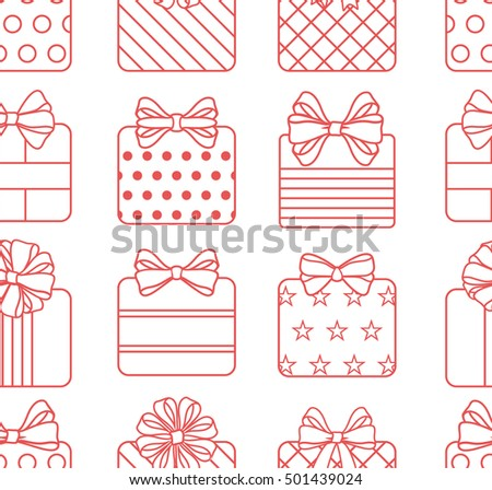 Vector seamless pattern with presents and bows