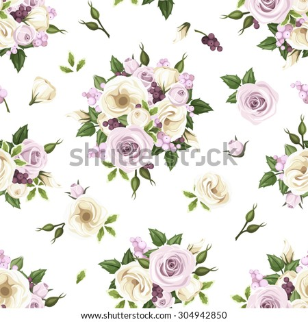 Vector seamless pattern with purple and white roses, lisianthus flowers, berries and green leaves on a white background. - stock vector