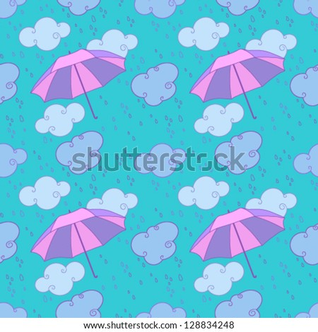 Vector seamless pattern with rain - stock vector