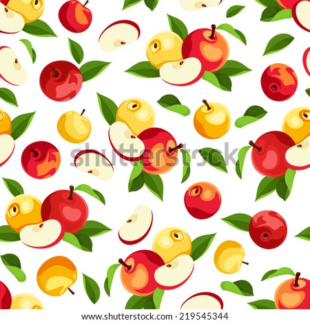 Vector seamless pattern with red and yellow apples and green leaves on a white background. - stock vector