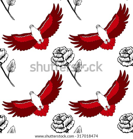 Vector seamless pattern with red eagles and black and white roses - stock vector