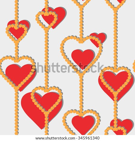 Vector seamless pattern with red heart symbols on a white background - stock vector